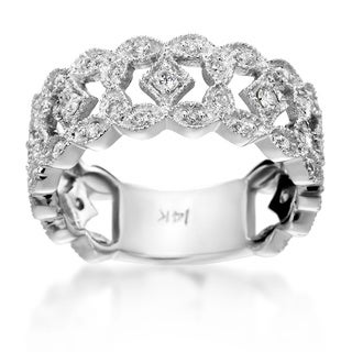 SummerRose 14k White Gold 1/2ct TDW Pave-set Vintage Diamond Band (H-I, SI1-SI2)
