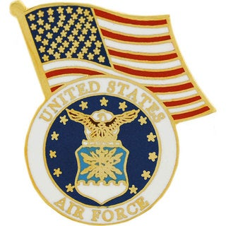 United States Air Force Logo With US Flag Pin (Option: Multi)