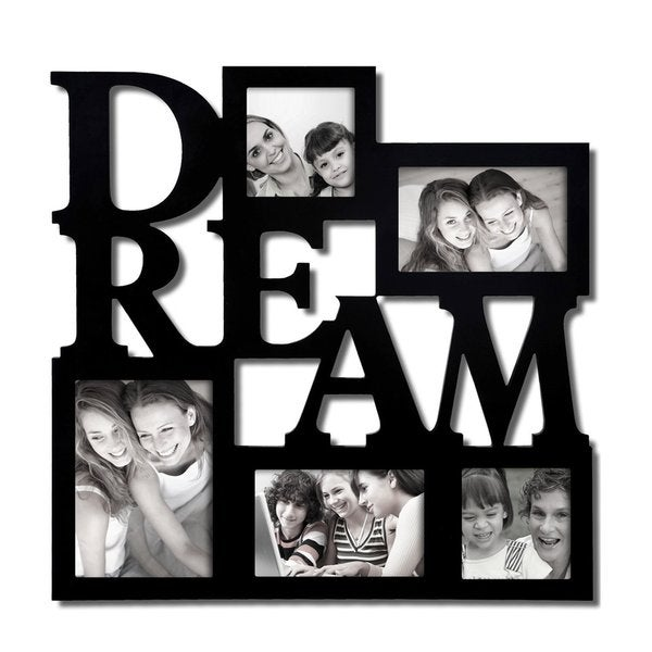 Adeco Decorative Black Wood 'Dream' Wall Hanging Picture Photo Frame Collage