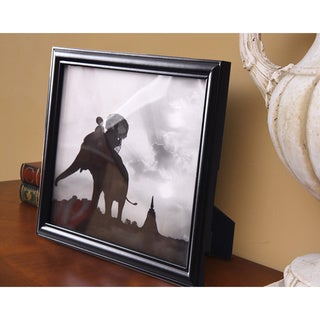 Adeco Black Decorative Wood Curved Bevel Picture Wall Hanging or Table Top Photo Frame