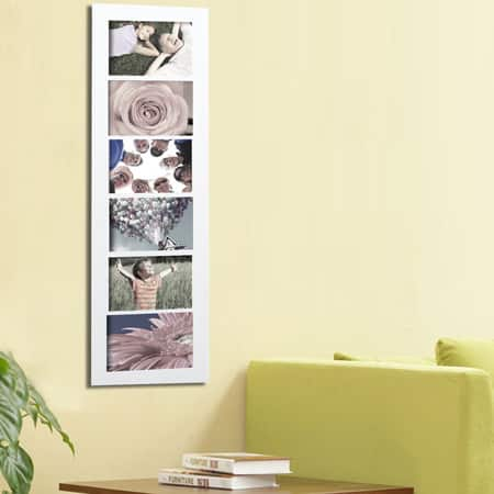 Adeco Decorative White Wood Wall Hanging Picture Photo Frame 6-openings Collage