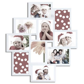Adeco Decorative White Wood Wall Hanging Collage Picture Photo Frame with 10 Openings