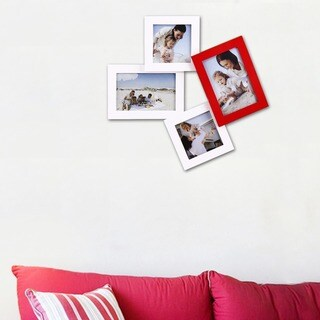 Adeco Decorative White/Red Wood Tumbling Wall Hanging Picture Photo Framewith 4 Openings