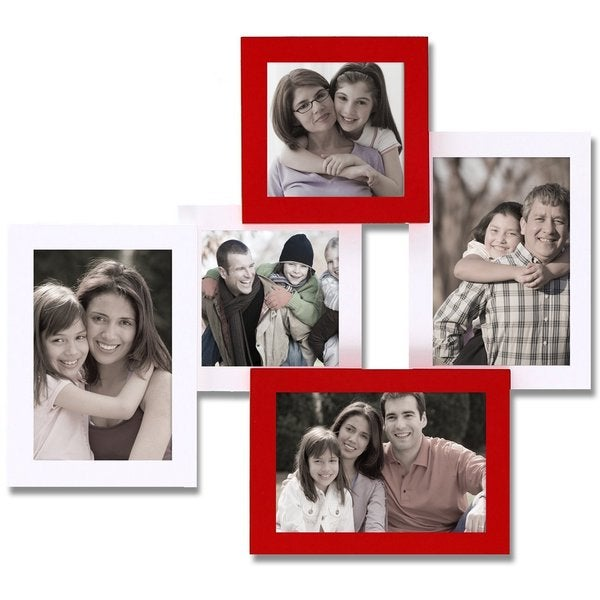 Adeco Decorative White/Red Wood Wall Hanging Collage Picture Photo Frame with 5 Openings