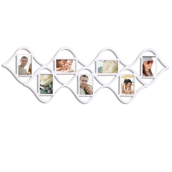 Adeco Decorative White Wood 'Double Wave' Wall Hanging Picture Photo Frame with 7 Openings