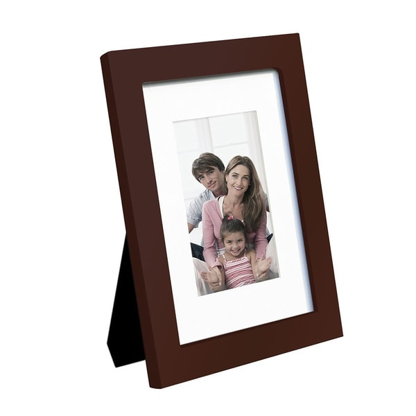 Adeco decorative walnut color wood wall hanging or table for How to display picture frames on a table