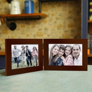Adeco Decorative Walnut-color Wood Hinged Table Top Horizontal Picture Photo Frame with 2 Openings