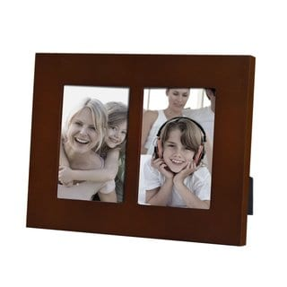 Adeco Decorative Walnut Color Wood Divided Picture Wall Hanging or Table Top Display Photo Frame 2 Vertical Openings