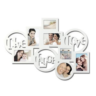 Adeco Decorative White Wood 'Live Laugh Love' Wall Hanging Collage Picture Photo Frame with 7 Openings