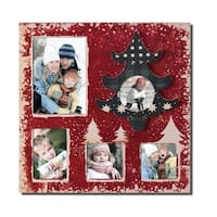 Adeco Decorative Red Wood Wall Hanging Collage Picture Photo Frame with 5 Openings