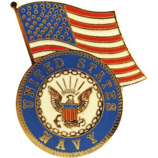 United States Navy Logo And US Flag Pin
