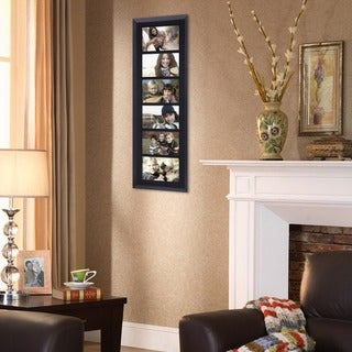 Adeco Decorative Black Wood Divided, Wall Hanging Picture Photo Frame with 6 Openings