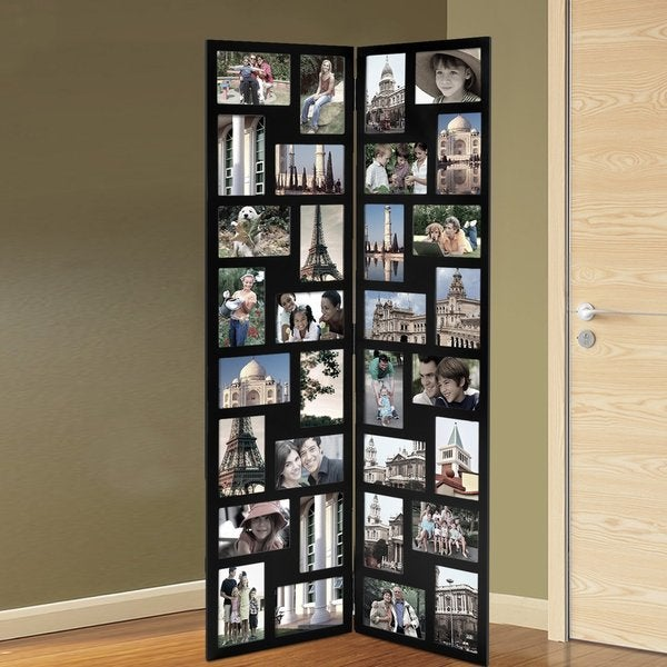 Adeco Black Wood Hinged Folding Screen-Style Collage Picture Photo Frame with 32 Openings
