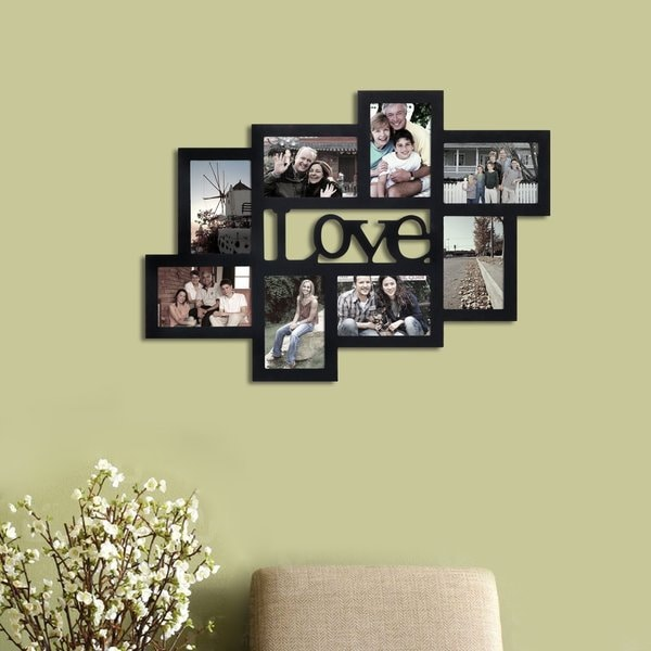 Adeco 8-Opening Black Wood 'Love' 4 x 6-inch Wall Hanging Photo Frame