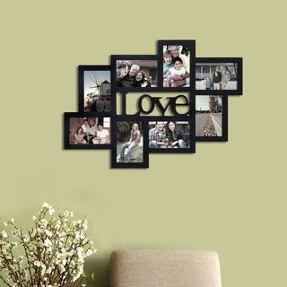 Adeco Black Wood Wall Hanging 'Love' Picture Photo Frame with 8 Openings