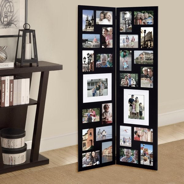 adeco decorative black wood folding floor standing collage hinged picture photo frame with 26 openings