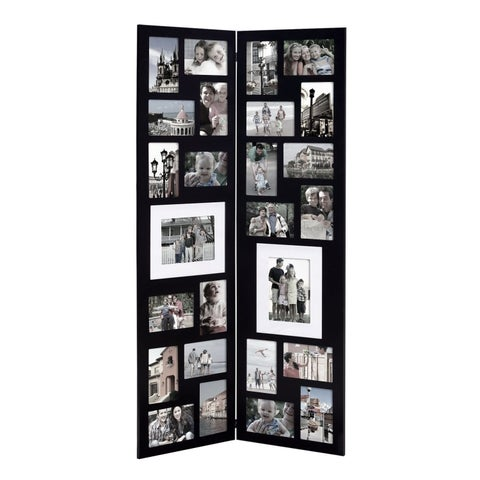 Black 26 Openings Wood Floor-Standing Folding Picture Photo Frame