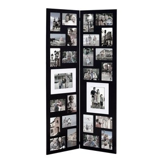 adeco decorative black wood folding floor standing collage hinged picture photo frame with 26 openings free shipping today overstockcom 17218617