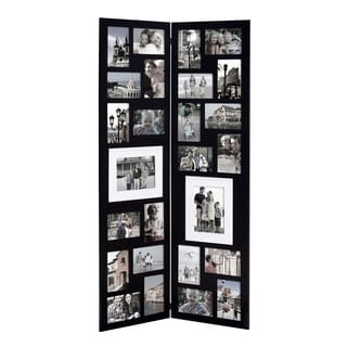 Adeco Decorative Black Wood Folding Floor-Standing Collage Hinged Picture Photo Frame with 26 Openings