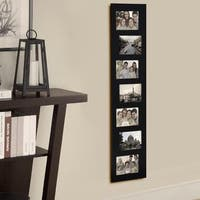 Adeco Decorative Black Wood Offset Wall Hanging Picture Photo Frame Collage with 7 Openings