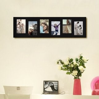 Adeco Decorative Black Wood Offset Wall Hanging Picture Photo Frame 6-openings Collage