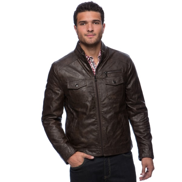 Summer Motorcycle Jacket >> Kenneth Cole Men's Faux Leather Jacket with Front Pockets ...