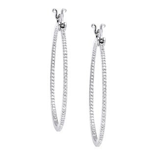 Beverly Hills Charm 10K Gold 1/2ct. TDW Round-Cut Diamond Inside-Out Hoop Earrings (H-I, I2-I3)