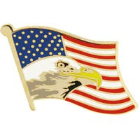United States Flag With Bald Eagle Pin