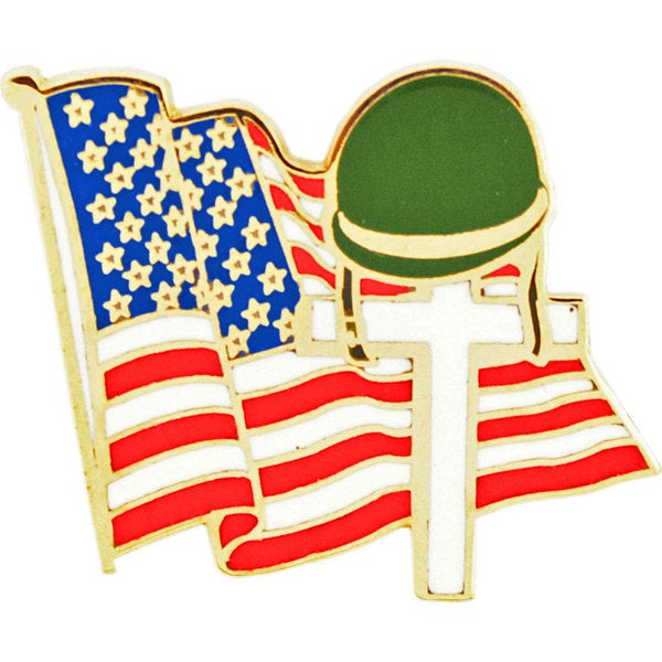 Flag and Cross Memorial Pin