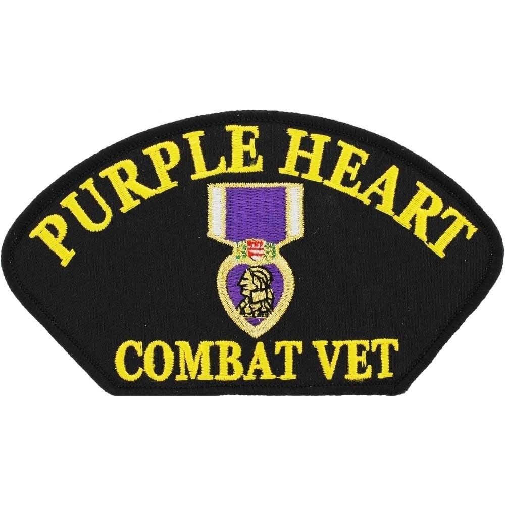 Purple Heart Combat Vet Patch (Black) (Polyester)