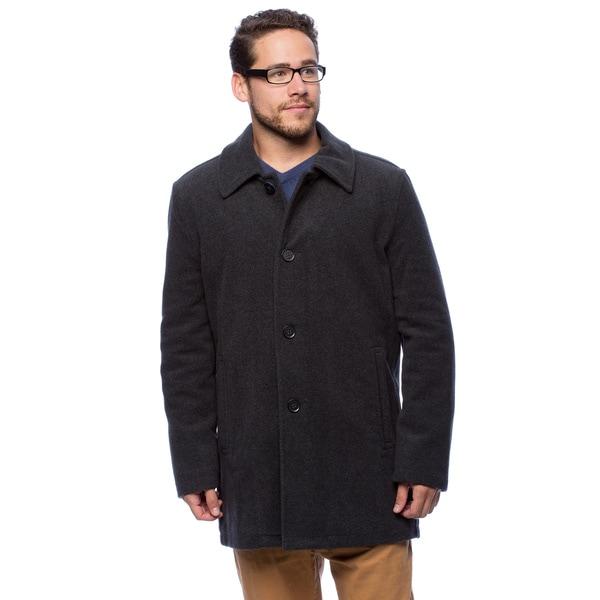 Shop Cole Haan Men's 34-inch Faux Leather Trim Car Coat