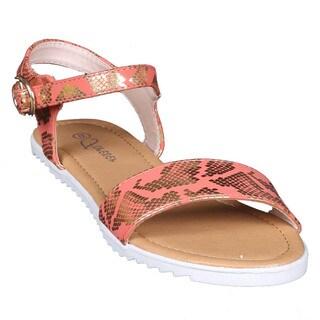 Coshare Women's Judy-92 Snake-embosed Flat Sandals