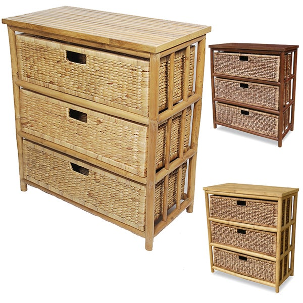 Heather Ann Open Sides Bamboo Cabinet with 3 Drawers