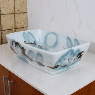 ELIMAX'S 2023 Square Oriental Art Style Porcelain Ceramic Bathroom Vessel Sink