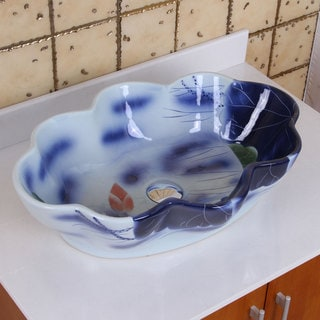 ELIMAX'S 2031 Lotus Shape Blue and White Porcelain Ceramic Bathroom Vessel Sink