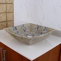 ELIMAX'S 2029 Square Blue and Grey Glaze Porcelain Ceramic Bathroom Vessel Sink