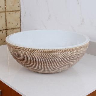 ELIMAX'S 2028 Ocher and White Porcelain Ceramic Bathroom Vessel Sink
