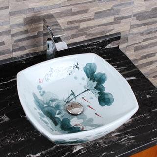 ELIMAX'S 2027 Square Oriental Lotus Style Porcelain Ceramic Bathroom Vessel Sink