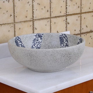 ELIMAX'S 2024 Blue and Grey Glaze Porcelain Ceramic Bathroom Vessel Sink