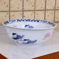 ELIMAX'S 2023 Lovebirds Blue and White Porcelain Ceramic Bathroom Vessel Sink