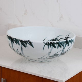 ELIMAX'S 2017 Oriental Bamboo Style Porcelain Ceramic Bathroom Vessel Sink