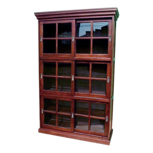 Shop D Art Collection Mahogany 3 Section Sliding Door Curio Bookcase   Free  Shipping Today   Overstock   10075308