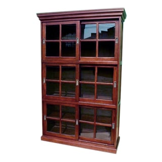 Handmade D Art 3 Section Sliding Door Bookcase/Curio (Indonesia)