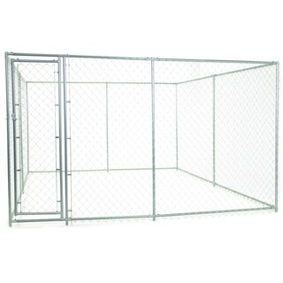 Lucky Dog 2-in-1 10-foot Square/ 15-foot Rectangle Galvanized Chain Link Kennel