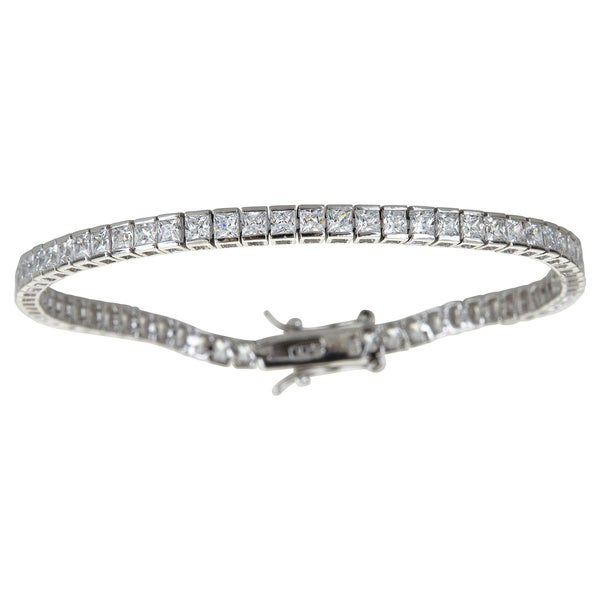 Decadence Sterling Silver Princess Cut Cubic Zirconia Tennis Bracelet