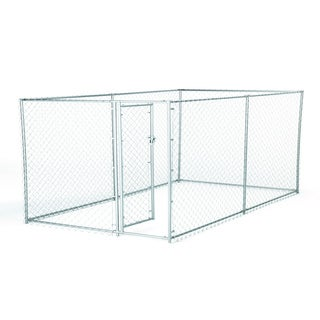 Lucky Dog 4-foot High 2-in-1 6.5-foot/ 10-foot Galvanized Chain Link Kennel