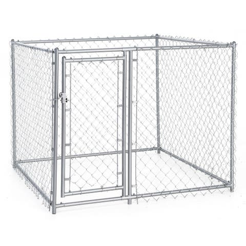 Lucky Dog 4-foot High x 5-foot Square Galvanized Chain Link Kennel