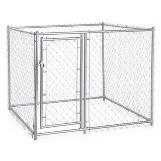 Lucky Dog Silver Galvanized Steel Chain Link 4-foot x 5-foot Square Kennel