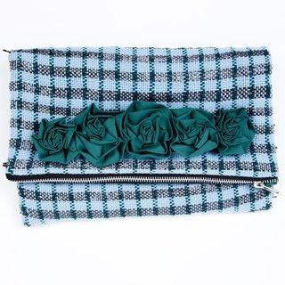 Handmade Blue Metallic Plaid Clutch (India)