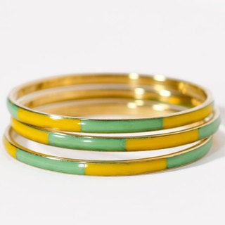 Handmade Yellow and Mint Nautical Gold Bracelets (India)